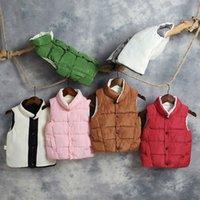 jaqueta de mandarim de meninos venda por atacado-Brasão para meninas Meninos Inverno Casacos gola mandarim Crianças Roupa crianças Down Jacket Crianças Vest carneiro Down Vest