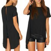 ingrosso lunghe camicette sciolte-2019 Casual Donna Solid Black Shirt a manica corta Summer Style Split High Low Long Back Girocollo Camicetta Allentata Blusas