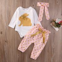 Wholesale girls clothing online - 3Pcs New Cute Baby Newborn Infant Girls Summer Clothes Rabbit Bodysuit Long Sleeve Bow Playsuit Pants Outfits Set