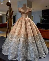Wholesale gold sequin dresses resale online - Sparkly Sequins Ball Gown Prom Dresses Princess Puffy Skirt Off Shoulder Ruffles Arabic Dubai Women Formal Evening Gowns Wear
