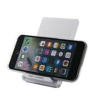 portable iphone charger großhandel-Neue Q600 Intelligente Drei-Spule Schnellladung Tragbare Faltbare Halterung Launcher QI Drahtlose Vertikale Seat Charger Anwendbar für Apple X