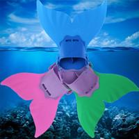verstellbare flossen großhandel-3 Farben Einstellbar Meerjungfrau Schwimmen Finne Tauchen Monofin Schwimmen Fuß Flipper Mono Fin Fischschwanz Schwimmen Training Kinder Geschenk