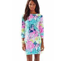 Wholesale long sleeve party clothes resale online - Lilly Pulitzer Dress Flowers Printing T shirt Shirts long Sleeve Cultivate Oneself Buttock Spring Women Party Beach Clothing AAA2007