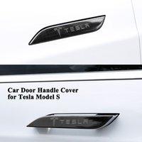 ingrosso coperture in acciaio inox-4pcs / set Styling Car Door Copre maniglia Logo Decorazione in acciaio inox Sticker Protector Accessori auto solo per Tesla Model S