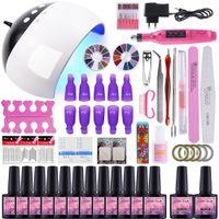 Wholesale gel polish kits lamp resale online - Manicure Set UV LED Lamp Nail Dryer Nail Gel Polish Kit Soak Off Manicure Tools Set Colors drill