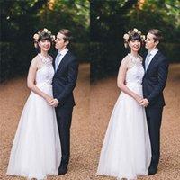 gelin elbiseleri toptan satış-AYDINLATMA Gelin Gelinlikler Vestido de novia gelin Elbise Beyaz Halter Tül A-line Gelinlik
