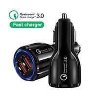 portos usb de alta velocidade venda por atacado-QC 3.0 Dupla Usb Port Carregador de carro de Alta Velocidade de Carregamento Rápido carregadores de Carro 3.1A adaptador para iphone 5 6 7 8 x samsung s8 s10 htc telefone android