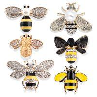 broche de inseto venda por atacado-10 Estilos Bonito Broche de Abelha Designer Pins Broches Inseto Strass Lapela Camisola Pinos para Mulheres Homens Menino Menina Acessórios de Moda
