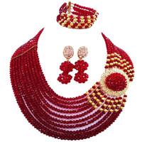 joyas de coral rojo indio al por mayor-Gorgeous vino estilo africano mujeres collar de perlas de cristal pendientes conjuntos para aniversario 10C-DPH-28