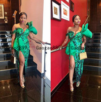 Wholesale sexy backless picture for sale - Group buy Mermaid green prom Dresses Lace Appliqued beaded ruched Tiered stain sexy split evening Dress arabic african Formal Party Gowns Floor Length