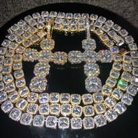 schmuck halsketten kreuze großhandel-Iced Out Ketten Hip Hop Schmuck Männer Voller Diamanten Kreuz Anhänger Halskette Micro Zirkonia Kupfer Set Diamant Halskette Brot Diamant