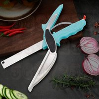 Wholesale chinese boards for sale - Group buy Stainless Steel Kitchen Scissors In Cutting Board Chopper Clever Fruit Vegetable Multifunctional Cutter Eco Friendly