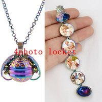 ingrosso collana di locket della scatola-Rainbow Photo Magic Locket Necklace 4 Photo Pendant Memory Galleggianti Angel Wings Flash Box Fashion Album Box Collane TTA1097