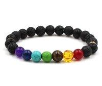 gesegnete armbänder großhandel-Buddha segnen Gewichtsverlust Chakra Armband schwarz Lava bunten Stein Heilung Balance Perlen Aura Gebet Naturstein Armband
