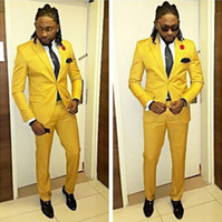 ingrosso yellow fitted men blazer-2019 Yellow Wedding Groom Men Suit 2 Pezzi (Jacket + Pants) One Button Vestito da uomo Slim Fit Abiti Tuxedo Costume Stage Tux Groomsman Blazer
