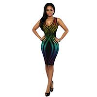mini spandex kulüp elbiseleri toptan satış-Kadınlar Dijital Baskı Bodycon Elbise Sıcak Gece Kulübü Giyim Avrupa Amerika Stil Kolsuz Sıkı Polyester Spandex Seksi Bayanlar Bandaj Elbise