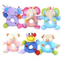 Wholesale baby stroller safety online - Safety Newborn Stroller Plush Toys Soft Cartoon Animal Baby Rattle For Children Nursery Hand Bell Doll Popular hb BB
