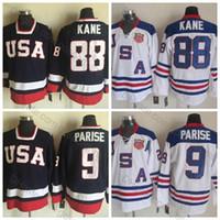 états-unis jersey de hockey olympique patrick kane achat en gros de-Maillots de hockey par équipe olympique des États-Unis 2010 # 9 Maillot Zach Parise # 88 Maillot Patrick Kane de qualité supérieure Bleu Blanc Chemises Cousues