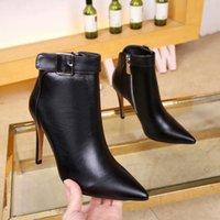 botas tacones vestido al por mayor-Botas cortas de estilo nuevo para mujer, botines con cremallera de tacón alto, punta puntiaguda, zapatos de vestir de fiesta de cuero para mujer