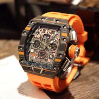 ingrosso orologi di scheletro di grandi dimensioni-Spuer Edition 11-03 Flyback nero arancio quadrante in fibra di carbonio quadrante grande data Miyota automatico orologio da uomo in gomma arancione orologi sportivi 12b2