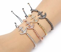 Wholesale bracelets anchor china resale online - gold silver micro pave cz Cubic Zirconia rope adjusted Copper Beads Bracelet gfd4df Anchor Charm Braided Bangles