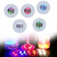 noel dekorasyon çubukları toptan satış-Mini Glow Coaster LED Şişe Işık Çıkartmalar Noel Noel Gece Kulübü Bar Parti Vazo Dekorasyon LED Glorifier İçecek Kupası Mat