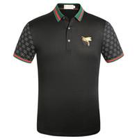 tela de polo al por mayor-Marca de ropa de los hombres libres de tela de rayas polo bordado de abeja camiseta da vuelta abajo hombres casuales camiseta camiseta 966