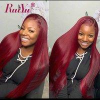 cor vermelha do cabelo brasileiro venda por atacado-99J Borgonha Feixes de Tecer Cabelo Liso Brasileiro Feixes de Pré-Cor de Cabelo Tinto Vinho Cor Vermelha Peruano Malaio Remy Cabelo Humano Ruiyu