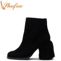Wholesale black fringe booties for sale - Group buy Black Woman Ankle Boots High Chunky Heels Round Toe Booties Zipper Large Size Ladies Fashion Fringe Trim Sexy Shoes Shofoo