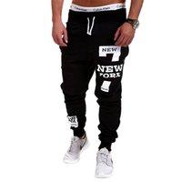 siyah hip hop kayak pantolon toptan satış-Hip Hop Streetwear Erkekler Mektuplar Baskı Sportwear Baggy Casual Erkek Eşofman Pantolon Siyah Pantolon Sweatpants Artı Boyutu M-4XL Y19061001