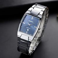 мужские часы с вольфрамовым сапфиром оптовых-Suqare Classic Tungsten Steel Business Watch Men New Fashion Classic Anti-Scrach Sapphire Crystal Water Resistance Couple Watch