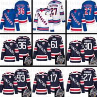 camisetas de zuccarello venda por atacado-New York Rangers Jersey 17 Jesper Fast 93 Mika 27 Ryan McDonagh 30 Henrik Lundqvist 36 Mats Zuccarello 61 Rick Nash Hockey