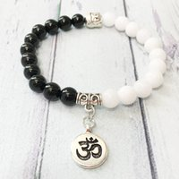 ingrosso braccialetti di onice neri per le donne-MG0493 On Sale Ohm Bracelet Yinyang Women and Men Bracciale Black Onyx White Shell Bead Bracelet Ohm Gioielli Yoga