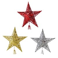 Wholesale black metal ornaments for sale - Group buy Star Christmas Tree Toppers Glittered Metal Hallow Star Treetop Xmas Tree Ornament New Year Decorations