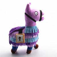 at oyuncakları satılık toptan satış-Sıcak Satış Fortnite Lama Peluş Oyuncak Troll Stash Lama Şekil Bebek Yumuşak Doldurulmuş Hayvan peluş oyuncaklar Oyun Alpaka Gökkuşağı At Çocuk Çocuk Hediye