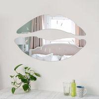calcomanías de pared de beso al por mayor-Mañana moderna besos labios pared espejo pegatinas dormitorio arte calcomanías decoración para el hogar decoración