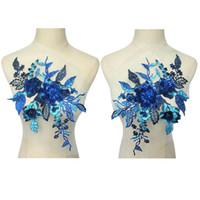 kraliyet gülleri toptan satış-36cm Kraliyet Mavi Kumaş 3D Çiçekler Güller Boncuk Rhinestone Payetler AYDINLATMA Dantel Trims Nakış Mesh diker On Yamalar Düğün Dekorasyon için