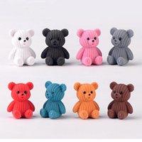 ayı aksesuarları toptan satış-2019 Popüler Parti Ev Dekorasyon Aksesuarları Sevimli Plastik Teddy Bear Minyatür Peri Paskalya Hayvan Bahçe Figürleri Ev Dekor SH190713