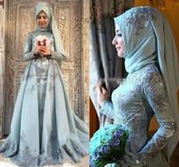 Wholesale line dress split middle for sale - Group buy Modest Muslim Evening Dresses Middle East Long Sleeve Applique Beads Dubai Vestidos De Festa Party Dress Prom Formal Pageant Celebrity Gowns