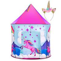 ingrosso ragazzi di tenda rosa-Unicorn Pop Up bambini tenda w / Unicorno fascia e di caso Unicorn Giocattoli per ragazze al coperto Princess Castle Kids Play Tent (colore rosa)