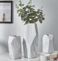 Wholesale ceramic angels decorations resale online - Nordic small fresh ceramic pattern angular flower arrangement anti fall home living room study bedroom desktop decoration green