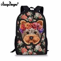Wholesale large cooling bag resale online - 3D Floral Yorkie Printing School Bags Cool Backpack for Girls Teens Kawaii Shoulder Bag Kids Schoolbag Large Book Bag Satchel