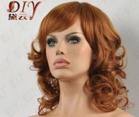 isıya dayanıklı saçlar kıvırcık toptan satış-ÜCRETSIZ SHIPPIN + + + Kıvırcık Kısa Kahverengi Sıkı Güzel Kadın Peruk Isıya Dayanıklı Cosplay Tam Saç