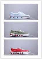 Wholesale scooter chains for sale - Group buy Mens Strawberry Green Casual Shoes Womens Aut SF Printing Canvas Shoes Men Scooter Shoes lovers Fashion Skate Casual Sneakers