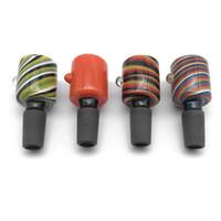 plataformas de petróleo de alta qualidade venda por atacado-New Black Joint 14mm 18mm Tigela De Vidro Masculino Wig Wag Wag Tigelas De Vidro Para Tubulações De Água de Tabaco de Vidro Bongos de Óleo Dab Rigs