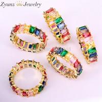 joyas llenas de oro del arco iris al por mayor-5 unids oro lleno de joyería de moda Rainbow Square Baguette Cz anillo de compromiso para las mujeres colorido Cubic Zirconia Cz anillo J 190515