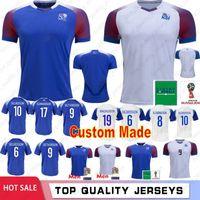 ingrosso jersey su misura-Islanda maglie calcio Custom Made 10 G.SIGURDSSON 4 Gudmundsson 8 Bjarnason 9 Sigurdarson 2018 Camicie Coppa del Mondo di calcio
