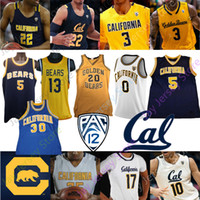 maillot de basket-ball d'or  achat en gros de-Californie Golden Bears de basket-ball NCAA Jersey Brown Jason Kidd Bradley Austin South Anticevich Abdur-Rahim Johnson Anderson Crabbe