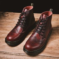 Wholesale dress black top white work for sale - Group buy Autumn Winter Men Work Boots Black Brogue Style Dress Boots For Men High Top Casual Fashion Shoe Warm Fur BLeather