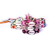 pulseras bohemias de verano al por mayor-Trenzadas Shell pulseras tejidas pulsera bohemio con 7styles joyería de concha Hombres Mujeres del multicolor brazalete de la playa del verano de vacaciones GGA2677